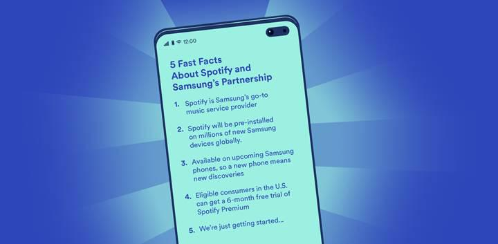 Spotify uygulaması bazı Samsung telefonlarda ön yüklü olarak gelecek