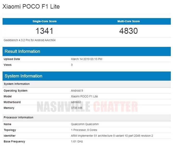 POCO F1 Lite, Geekbench üzerinde görüldü
