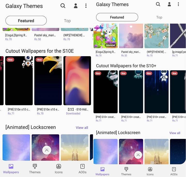 Galaxy S10 serisinin delikli duvar kağıtları Galaxy tema mağazasına geliyor