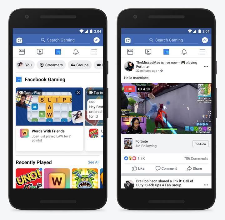 Facebook mobil uygulamasına oyun sekmesi geldi