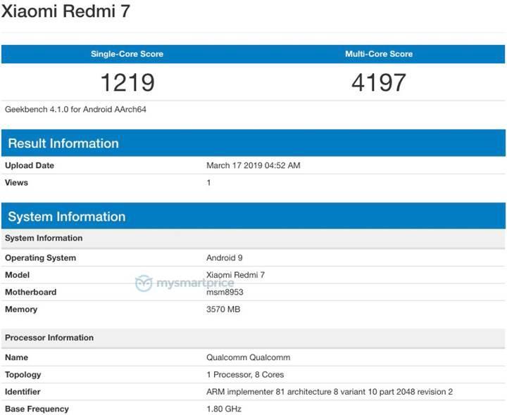 Redmi 7 Geekbench'te görüntülendi