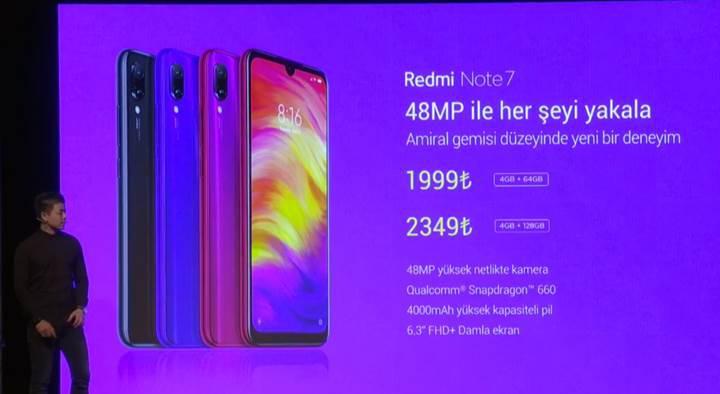 Redmi Note 7 Türkiye'ye geldi