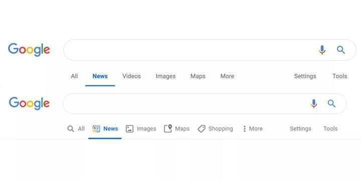 Google arama seçenekleri ikonları yenileniyor