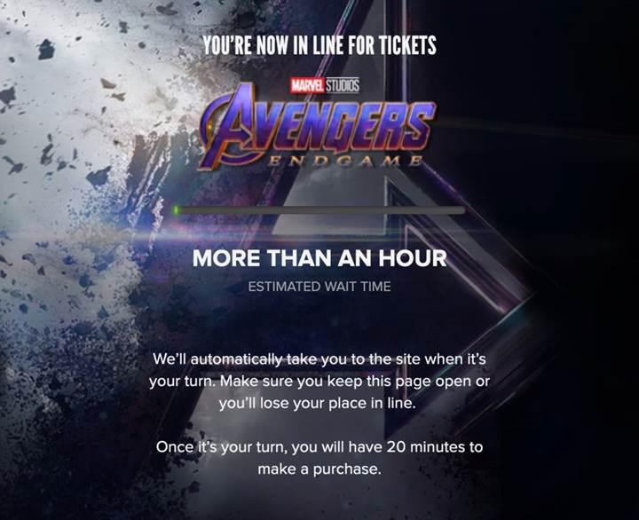 Avengers: Endgame ön satışları bilet sitelerini çökertti
