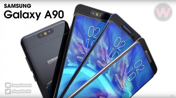 Samsung Galaxy A90'ın kayar-döner kamera tasarımı ve özellikleri ortaya çıktı