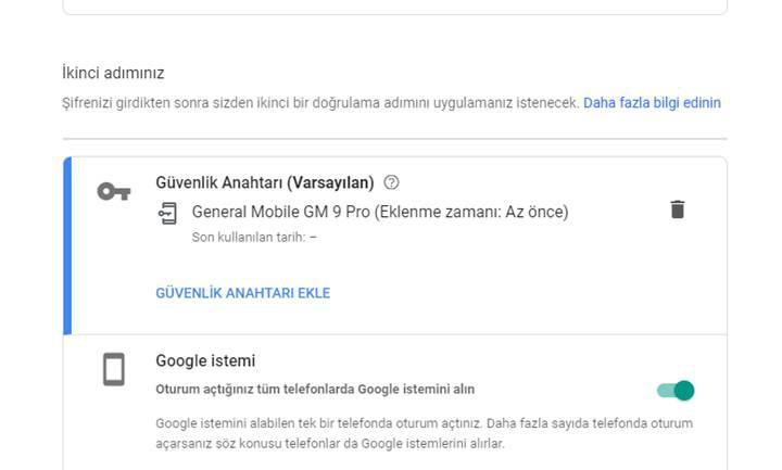 Android telefonu güvenlik anahtarı olarak kullanma
