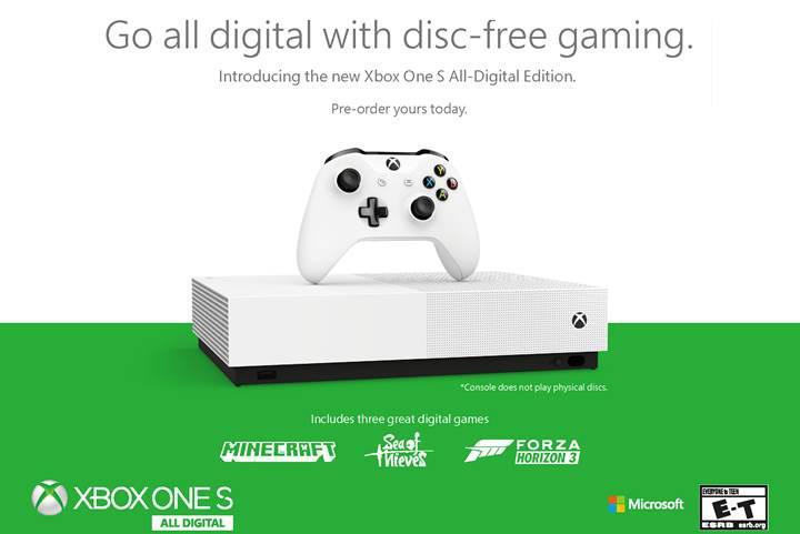 Microsoft Xbox One S All-Digital Edition: Blu-ray sürücüsüz 249 dolarlık konsol ve üç oyun