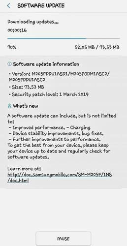 Samsung Galaxy M20 güncellemesi şarj hızını arttırıyor