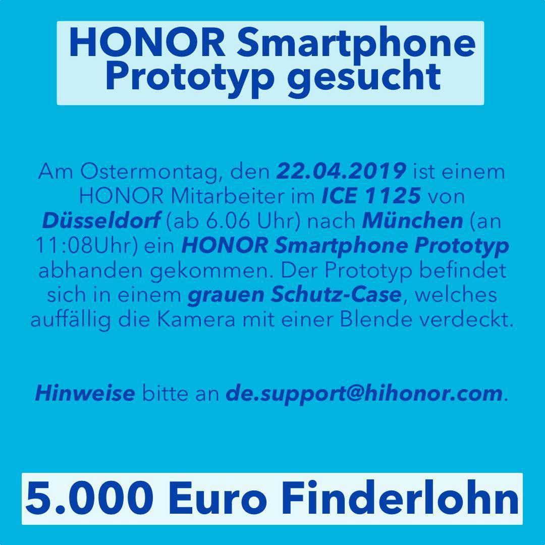 Honor kaybolan telefona 5000 Euro teklif ediyor