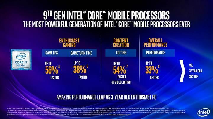 45 watt TDP'li 9. nesil mobil Core işlemcileri detaylandı