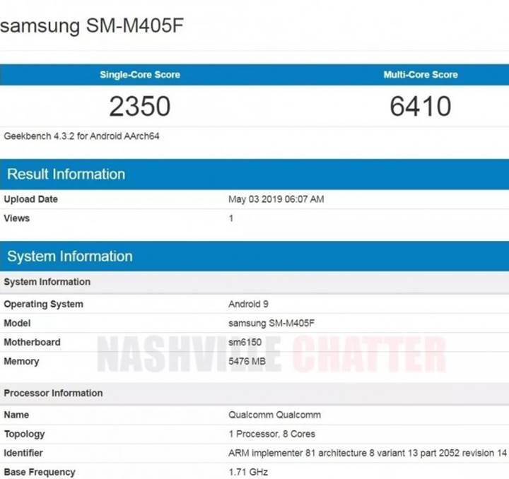 Samsung Galaxy M40 kilit özellikleri Geekbench sayesinde belli oldu
