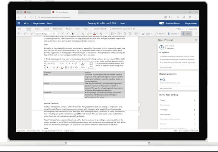 Word Online yazılımında yapay zekâ en büyük yardımcınız olacak