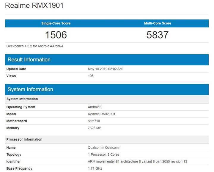 Snapdragon 710'lu Realme X bu kez GeekBench'te ortaya çıktı