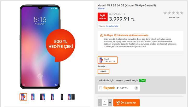 Mi 9 SE Türkiye fiyatı