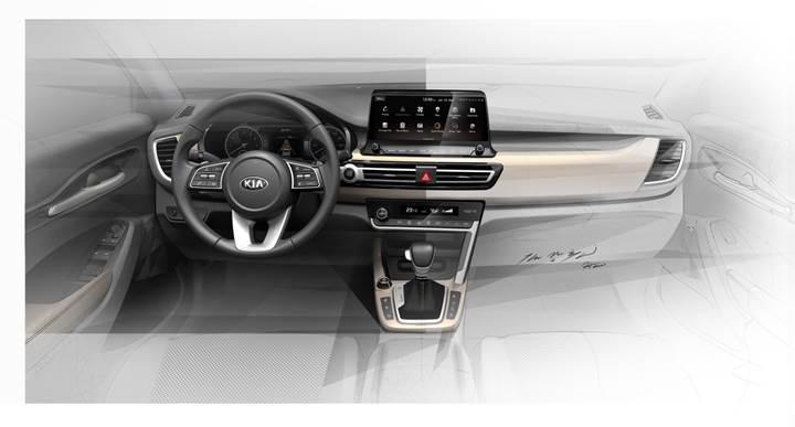 Yeni Kia kompakt SUV'un kabininden ilk görüntüler geldi