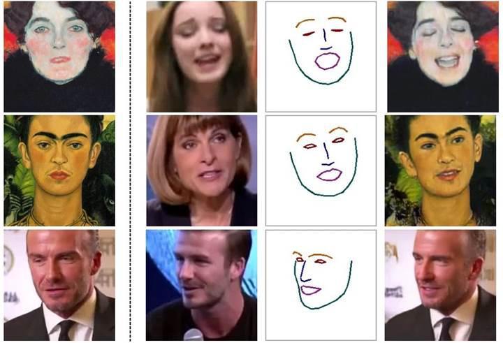 Tek bir fotoğraf ile yüzleri canlandıran sistem