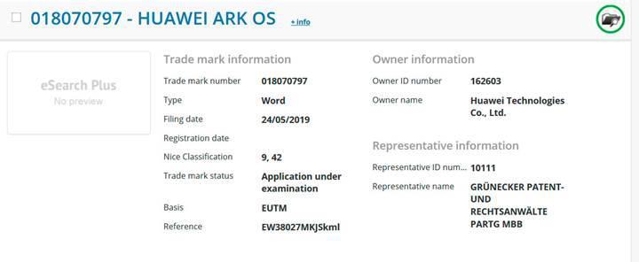 Huawei'nin işletim sistemi için Ark OS ismi tescillendi