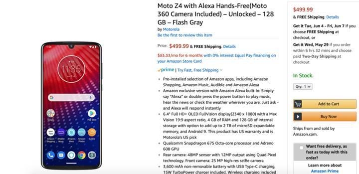 Moto Z4 tanıtılmadan satışa sunuldu