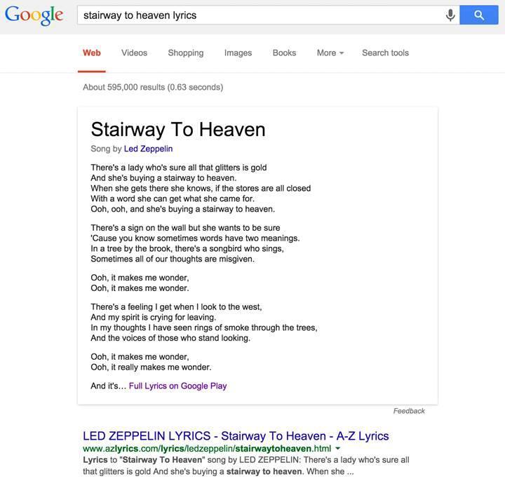 Google şarkı sözlerini kopyalamakla suçlanıyor
