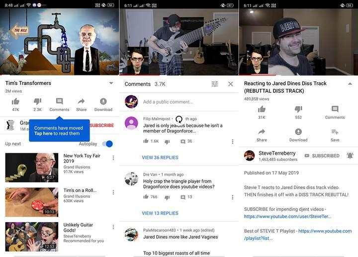 YouTube uygulamasında yorumlarla ilgili önemli bir değişiklik test ediliyor