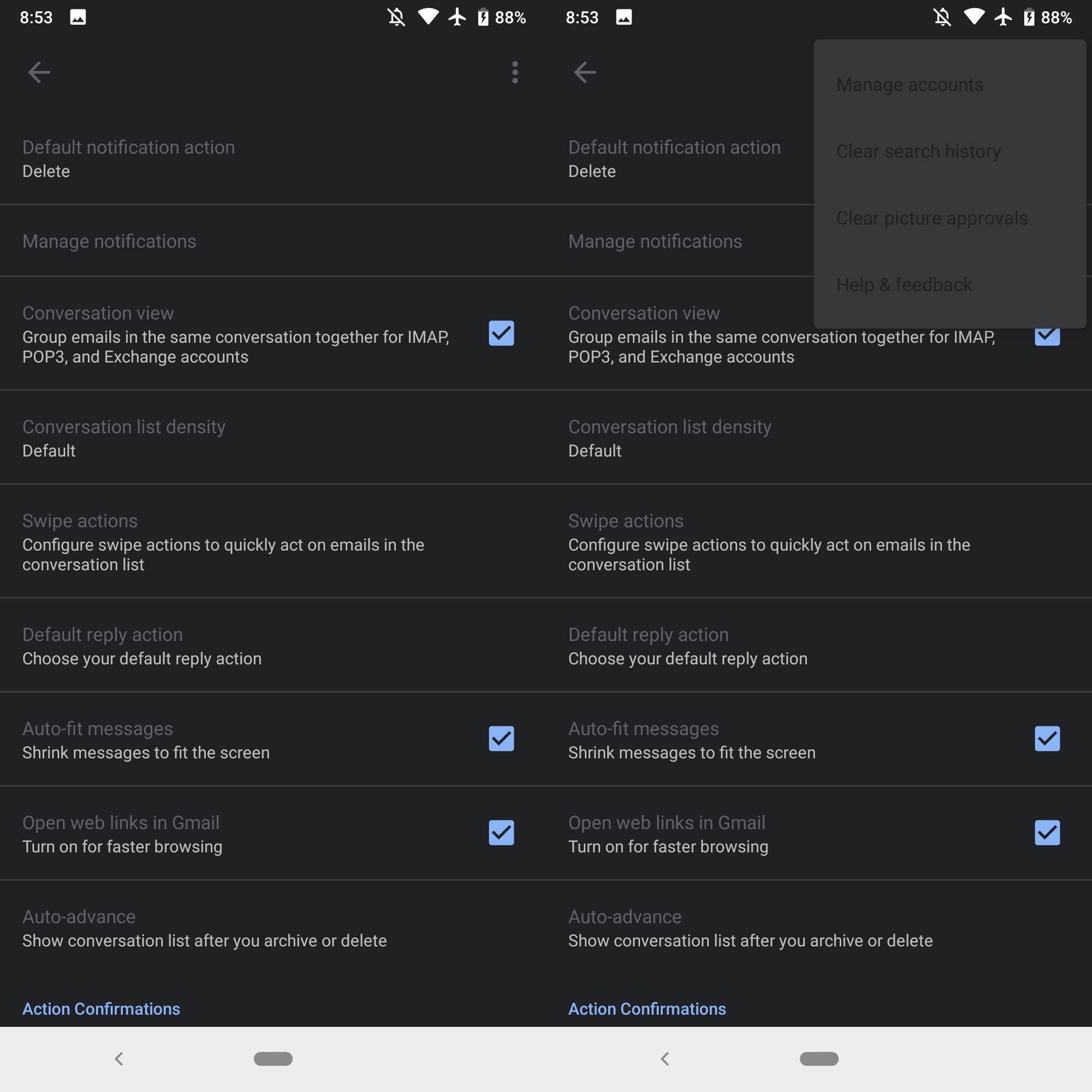 Gmail uygulamasına karanlık mod