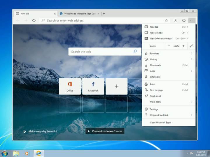 Microsoft'un Chromium tabanlı Edge tarayıcısı, Windows 7 ve 8'e geliyor
