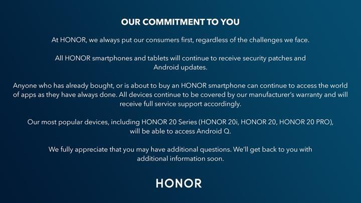 Honor 20 serisi de Android Q güncellemesi alacak