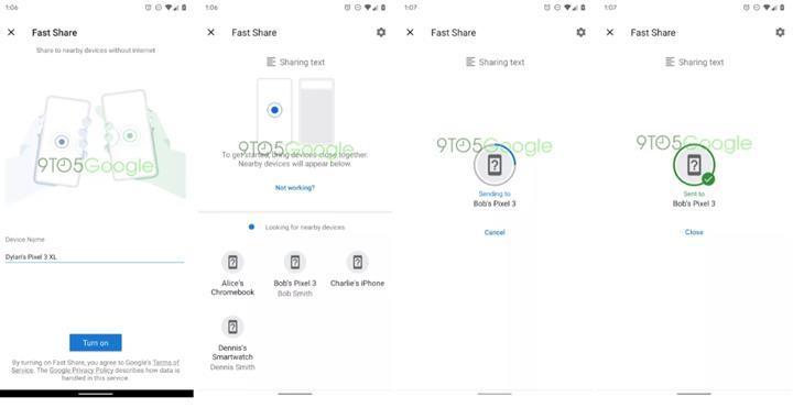 Google, Fast Share dosya paylaşım yöntemi