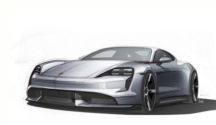 Porsche, ilk eletkrikli otomobili Taycan'ın taslak çizimlerini yayınladı