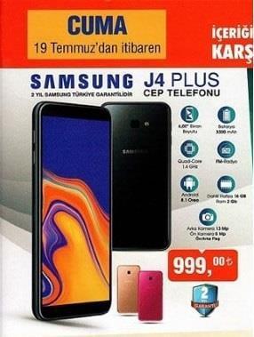 Haftaya BİM marketlerde çok uygun fiyata Galaxy J4 Plus var