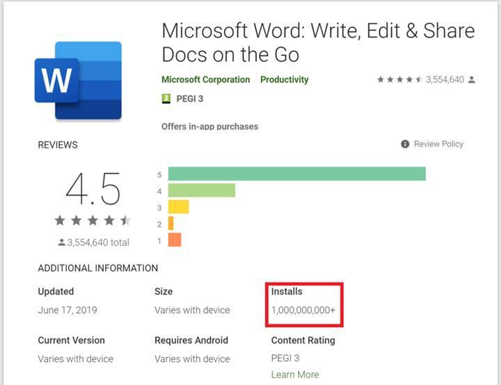 Microsoft Word, Android platformunda 1 milyar indirme sayısına ulaştı