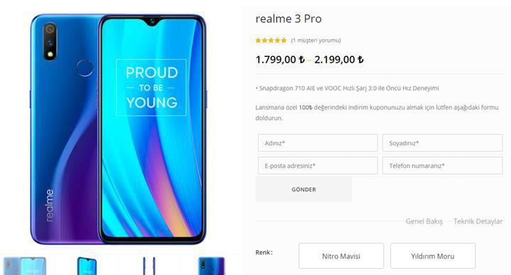 Realme 3 Pro Türkiye fiyatı