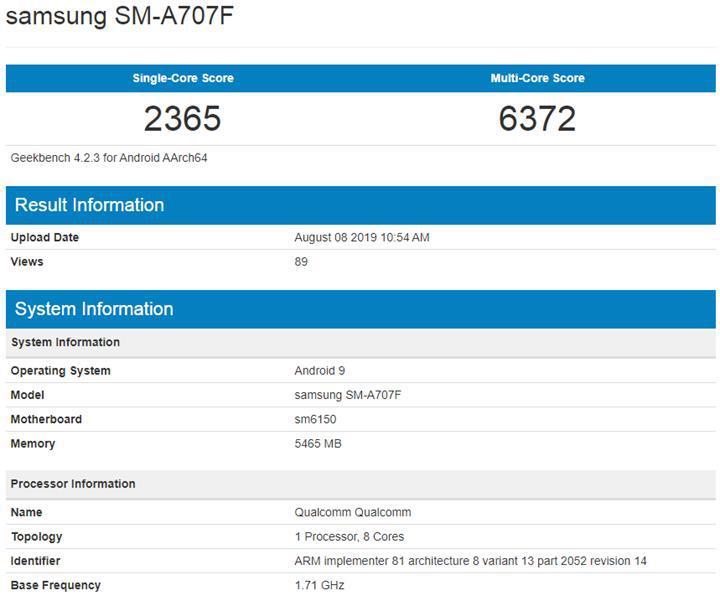 Samsung'un yeni telefonu Galaxy A70s, Geekbench'te göründü