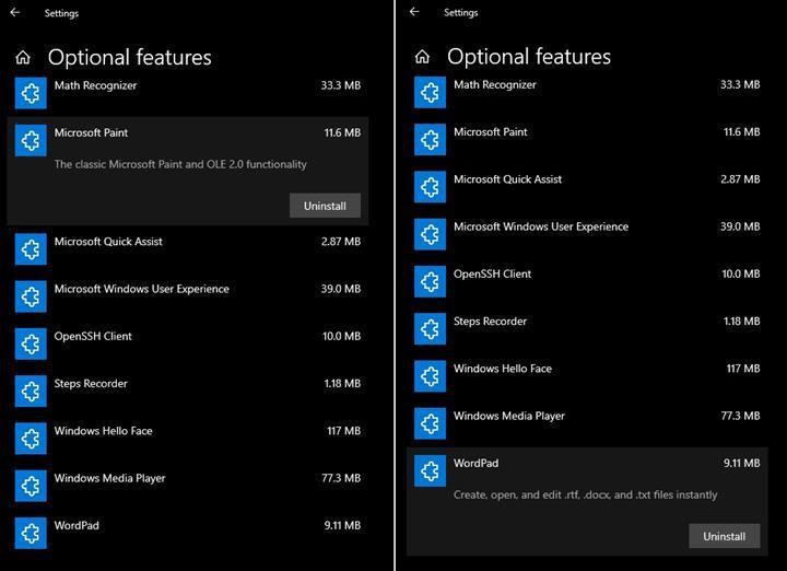 Paint ve WordPad, Windows 10'da isteğe bağlı özellik haline geliyor
