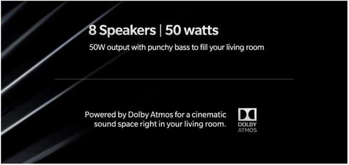 OnePlus TV sekiz hoparlör ve Dolby Atmos ses desteği ile gelecek