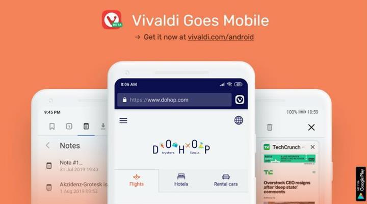 Vivaldi Android tarayıcısı beta sürecine başladı