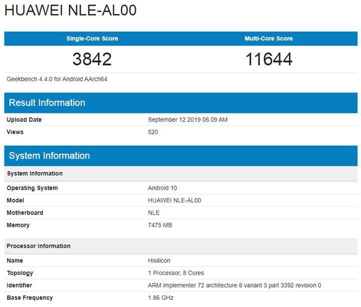 Huawei'nin Kirin 990'lı yeni telefonu Geekbench'te ortaya çıktı