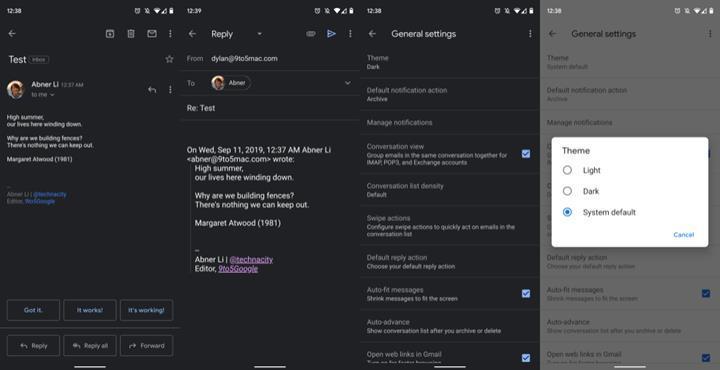 Gmail karanlık teması Android ve iOS için dağıtılmaya başlandı