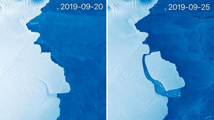 Antarktika'daki Amery buz sahanlığından 315 milyar tonluk buz dağı koptu