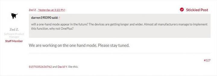 OnePlus OxygenOS için tek el modu geliyor