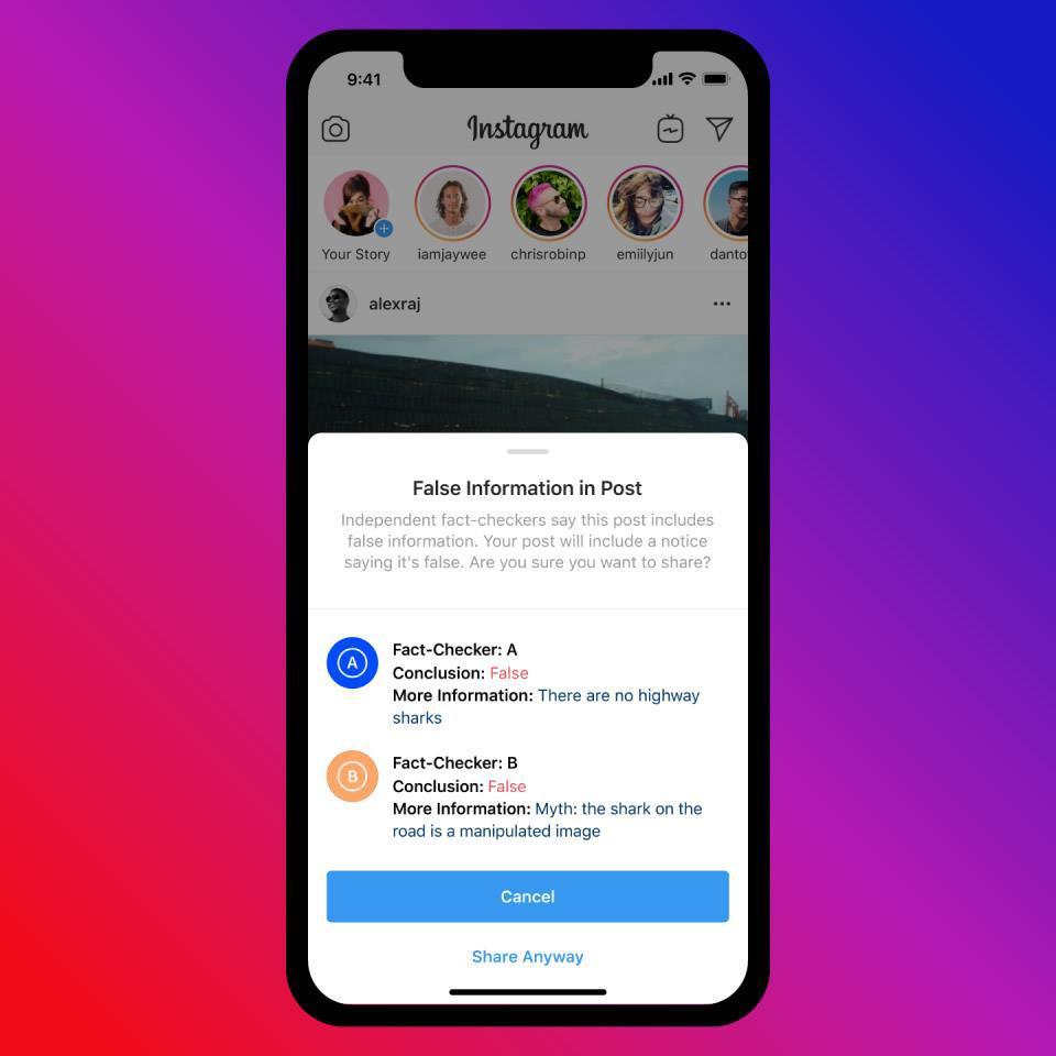 Facebook ve Instagram sahte haber uyarı özelliğini devreye sokuyor