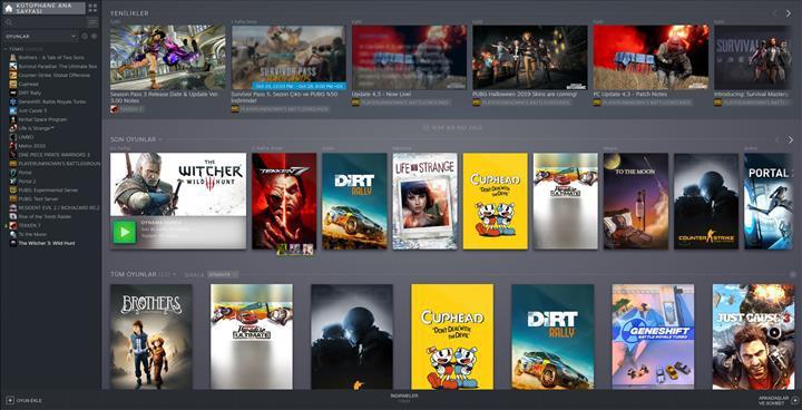 Steam'in yeni kütüphane tasarımı herkes için kullanıma açıldı