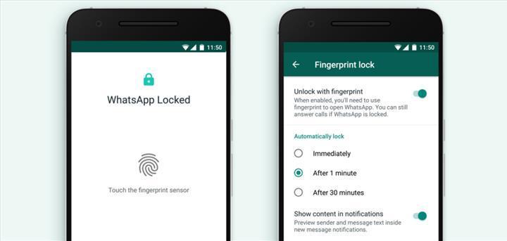 WhatsApp Android uygulamasına parmak izi kilidi geldi