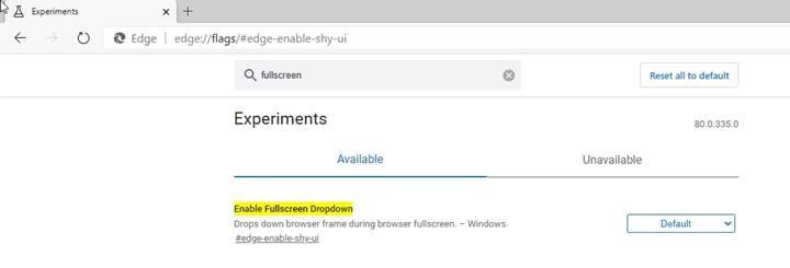 Microsoft, geliştirdiği yeni Edge tarayıcısında, tam ekran modunu test ediyor