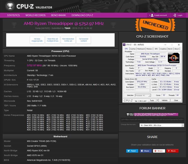 AMD Ryzen Threadripper 3970X tüm çekirdekleriyle 5.75 GHz'e hız aşırtıldı