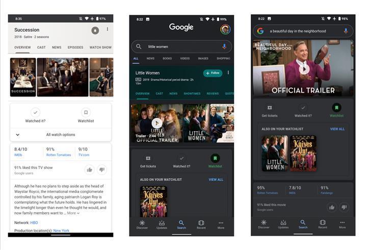 Google Arama'ya film ve dizileri daha rahat takip etmenizi sağlayacak yeni özellikler getiriliyor