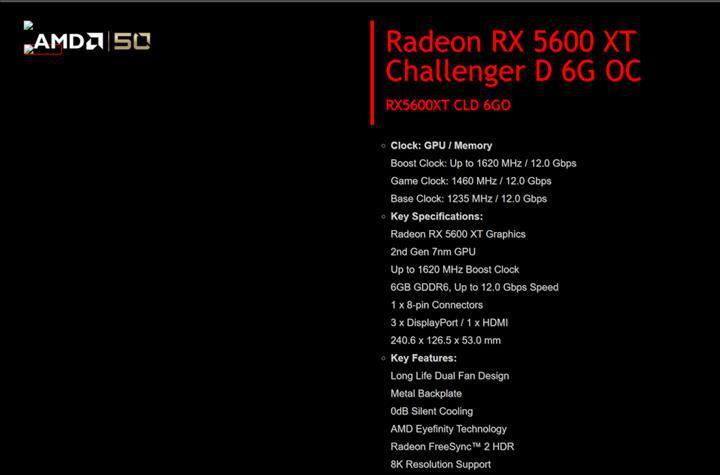 RX 5600 XT ASRock'ın sayfasında ortaya çıktı