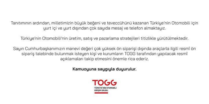 TOGG'dan yerli otomobille ilgili ön sipariş açıklaması