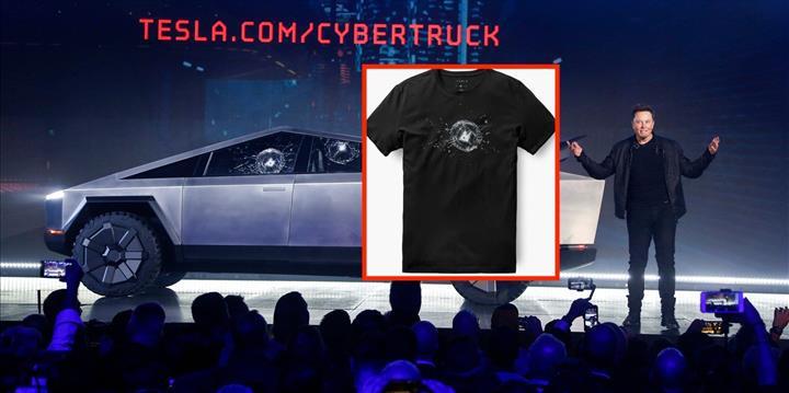 Tesla Cybertruck'ın 'kırılan camı' tişörte dönüştü