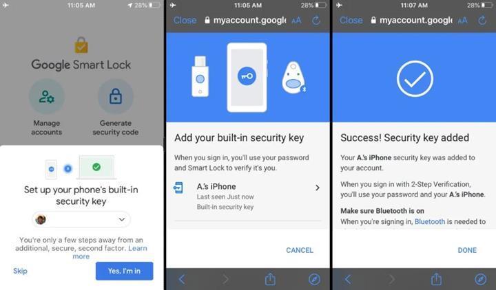 iPhone'lar artık Google güvenlik anahtarı olarak kullanılabiliyor